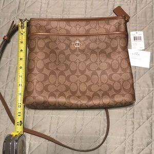 Coach Leather SIG File Bag 228756JAX KHAKI/Saddle